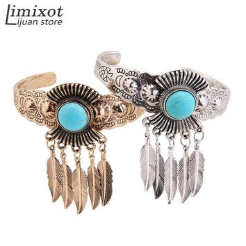 Limixot Women's Blue Stone Leaf Open Cuff Bangle Charm Bracelet Indian Native American Jewelry