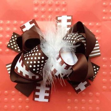 Girls Over the Top Football Hairbow, Baby Girls OTT Football Ribbon Headband, Feather Center