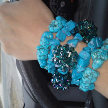 turquoise beaded bracelets...turquoise jewelry...country jewelry