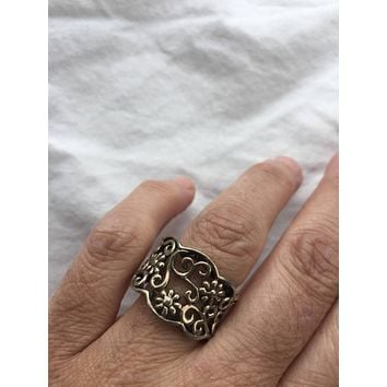 Vintage 1970's 925 Sterlin Silver Flower Spoon Ring