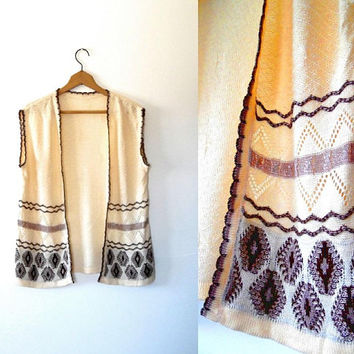 Knitted shrug cardigan, golden cream, embroidered, mauve, sparkly, silver, brown, vintage, 1970s, boho, scallop edge, diamond knit top