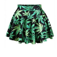 green leaf weed printed mini skater skirt = 1946344836