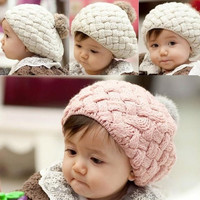 Cute Baby Infant Girls Toddler Winter Warm Knitted Crochet Hat Cap Beanie Z_G (Color: Red) = 1946957508