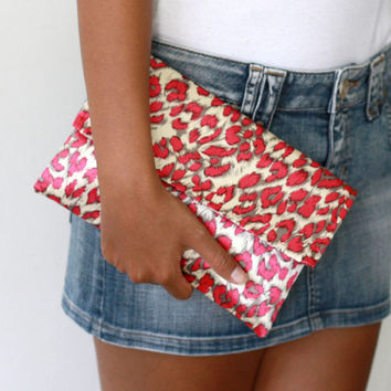 Envelope Clutch, Leopard Fuchsia Satin Clutch with gold leather wrist strap
