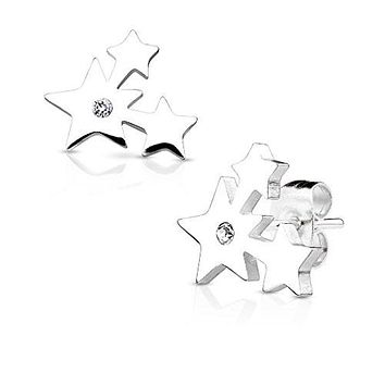 Pair of Three Cluster Stars with Crystal 316L Stainless WildKlass Steel Earring Studs