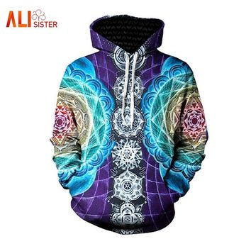 Funny Geometric 3d Print Hoodies Sweatshirt Men Women Blue Trippy Long Sleeve Loose Hooded Hoodie Autumn Pullovers Plus Size 3XL