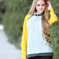 Double Hooded Mustard Block Sweatshirt