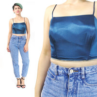 90s Blue Satin Crop Top Rhinestone Tank Top Sleeveless Strappy Evening Party Crop Top Club Kid Clueless Tank Top Vintage Boned Corset (XS/S)