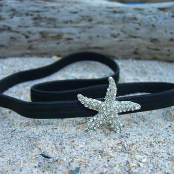 Black Starfish Headband-SPARKLE-Beach Weddings, Stocking Stuffer, Mermaid Birthday, Destination Wedding, Gifts under 15, Ocean, Seashore