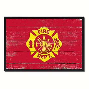 Fire Department Fire Fighter USA Flag Vintage Canvas Print Picture Frame Home Decor Man Cave Wall Art Collection Gift Ideas