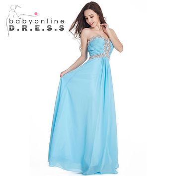Under $40 Sweetheart Light Sky Blue A Line Long Cheap Bridesmaid Dresses 2017 Chiffon Beaded Sequin Prom Dresses