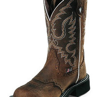 Justin Boots Ladies Gypsy Cowgirl Collection Aged Bark With Perfed Saddle Vamp Western Boots L9909 - Scruggsfarm.com