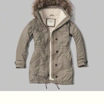 Military Sherpa Lined Parka from Abercrombie & Fitch