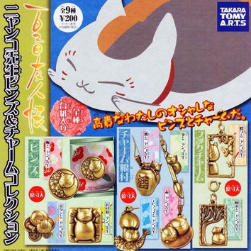 Takara Tomy Natsume's Book of Friends Gashapon Metal Pin & Strap 9 Figure Set