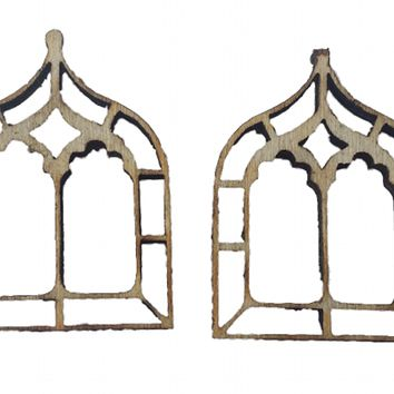 Miniature Windows Gothic Chapel x 4 : Fairy Garden Accessories / Wooden Accessory Dolls House