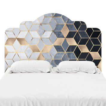 Soft Blue Gradient Cubes Headboard Decal