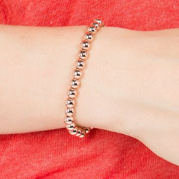 3mm Caviar Bead Stretch Bracelet in Rose Gold