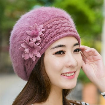 SexeMara Winter Cap Beanie Hat Ladies Warm Hats For Women Bonnet Femme Fake Rabbit Fur Wool Knitted Cap With Ear Flaps AW49