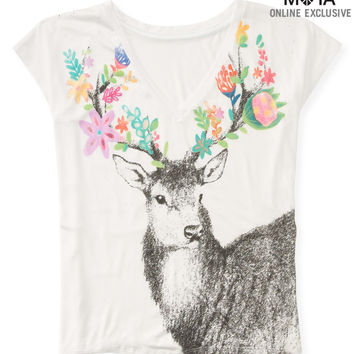 Aeropostale  Womens Deer V-Neck Boxy Graphic T-Shirt