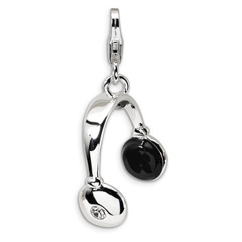 925 3D Enameled Headphones Charm Created with Swarovski Crystals