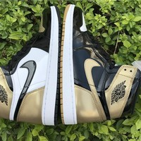 Air Jordan 1 Retro Black Gold TOP 3 Size 40--47