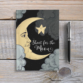 Writing Journal, Hardcover Notebook, Sketchbook, Diary, Inspirational Quote, Unique Gift Under 20, Blank or Lined pages - Shoot For The Moon