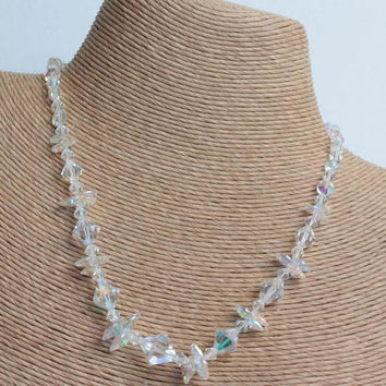 AB Crystal Bridal Choker Necklace Aurora Borealis Beads Unusual Beads Vintage