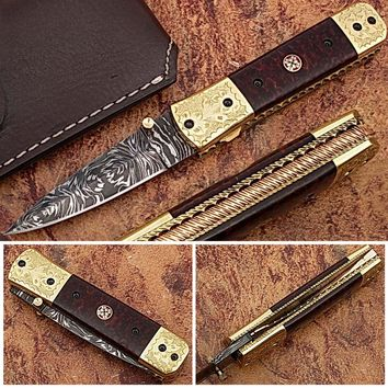 Signiture Executive Series Italian-Style Damascus Folding Knife ENGRAVED Brass Bolster Rainwood Grip