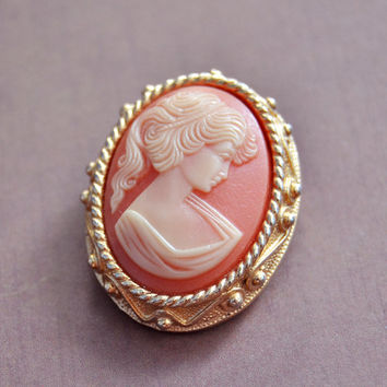 Vintage Sarah Coventry, White Coral Salmon Peach Cameo, Gold Tone Brooch Pin Pendant, Womens Estate Jewelry, Wife Girlfriend Mom Sister Gift