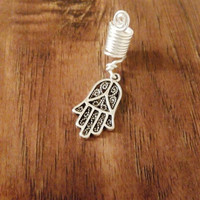 Hamsa hand loc adornments hamza hand of Fatima dreadlock accessories silver charm hair falls dreads coils