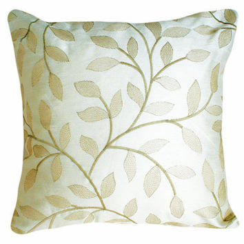 Luxury Cream Embroidered Pillows with by PillowThrowDecor on Etsy