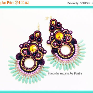 On SALE TUTORIAL ONLY! Hand Embroidered Soutache Tutorial, step by step pdf pattern in English. Soutache earrings tutorial.