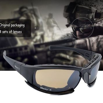 X 7 Men Military Tactical goggles sunglasses Gafas 4 Glasses Lenses sunglasses Glasses Glasses Outdoor windproof