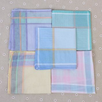 10pcs/lot Multicolor Square Striped Handkerchiefs 29*29cm Women Classic Pattern Vintage Pocket Hanky Cotton Plaid Handkerchief