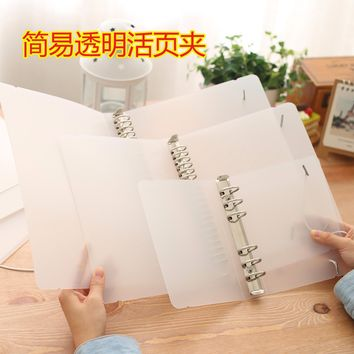 Plastic Clip file folder classic transparent simple notebook loose leaf ring binder diary planner cover A5 A6 office stationery