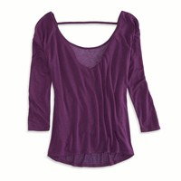 AEO Factory Women's U Back T-shirt (Summer Plum)