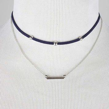 Navy Double Leaf Choker