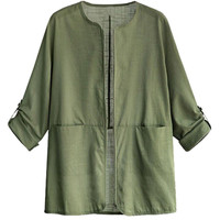 Roll-Tab Sleeve Sun-Proof Linen Outwear Jacket