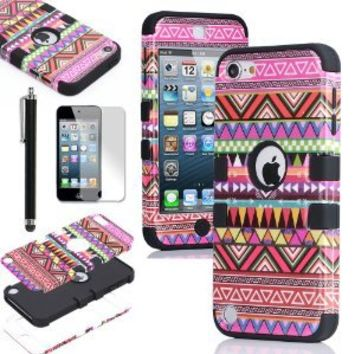 Pandamimi ULAK 3 in 1 Hybrid Pink Hard Aztec Tribal Pattern and Black Silicon Case Cover For Apple iPod Touch 5th Generation + Screen Protector +Black Stylus