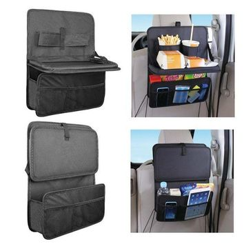 DCCKH0D High Quality Auto Back Car Seat Organizer With Food Tray Table Durable Oxford Fabric Multi-function Foldable Travel Storage Bag
