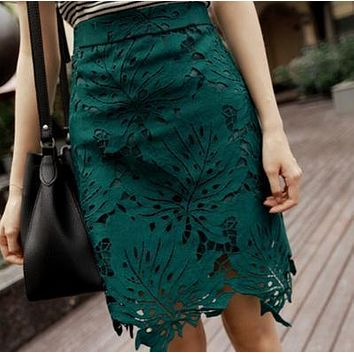 Women stylish lace skirt high waist hollow out lace mid skirt elegant flower lace pencil skirt ladies bottom skirt free shipping
