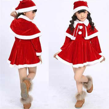Baby clothes 2018 FASHION Toddler Kids Baby Girls Christmas Clothes Costume Party Dresses+Shawl+Hat Outfit 2sw0811