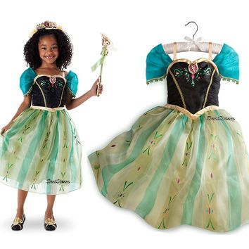 Licensed cool Disney Store Frozen PRINCESS ANNA CORONATION DRESS up Costume Gown Girls 7/8