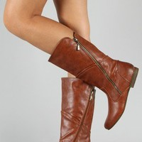 Meley-4 Leatherette Zipper Round Toe Mid Calf Boot