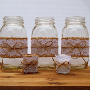 Rustic Wedding Decor - Country Wedding - Rustic Table Decor - Barn Wedding - Burlap and Lace Wedding