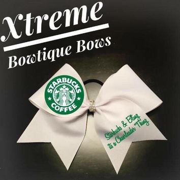 Starbucks Cheer Bow with Bling Center Custom Cheer Bows, Personalized for All Occassions
