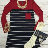 City Stripes Dress: Red