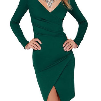 Green V-Neck Long Sleeve Hem Dress