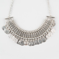 Full Tilt Wide Statement Coin Necklace Antique Silver One Size For Women 27269658201