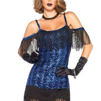 DCCKLP2 2PC.Gatsby Flapper,waterfall sequin dress and headband in BLACK/BLUE